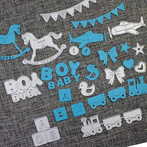 Moares Fustelle Big Shot Feltro Fustella Natale Bigz,Cavallo Banner Boy Baby Train Taglio Muore Fai da Te Scrapbook Paper Card Making Stencil - Argento