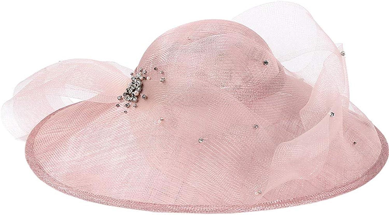 Summer Sun Hat Beach Hat Wedding hat,Bridal Accessories,Women's Fascinators,Large Eaves Dome Linen hat, Elegant Rhinestone Decorative Hemp hat, Beach Shade hat