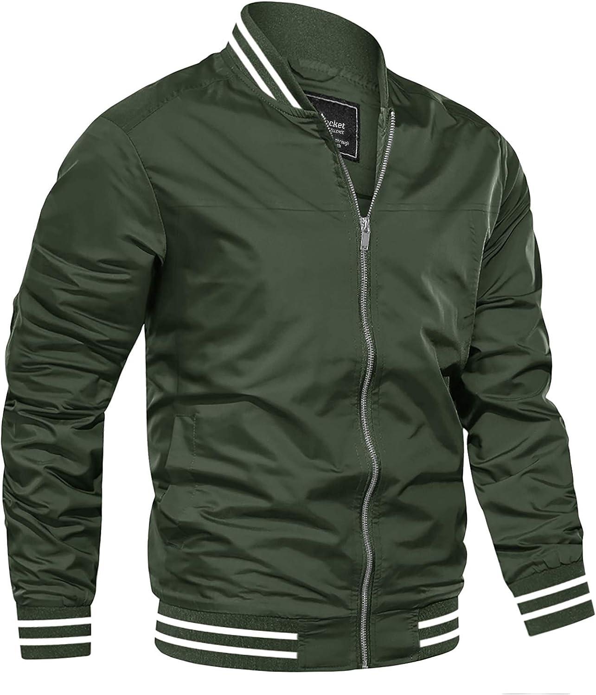 NEW before selling ☆ EKLENTSON Mens Jacket San Antonio Mall Lightweight Casual Bomber Windbreaker Thin