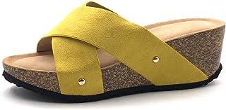 58b0c49114038f Angkorly - Chaussure Mode Mule Sandale Confortable Pratique Femme lanière  clouté Talon compensé 6 CM