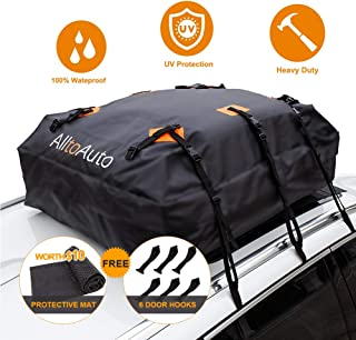 Rooftop Cargo Carrier Bag, 100% Waterproof-15 Cubic Feet, Protective Mat, Storage Bag, Straps&Hooks Include, Soft Shell Carrier Bag for All Cars and Truck with or Without Racks