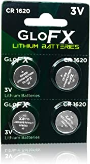GloFX CR 1620 3v Batteries - 4 Pack - Button Coin Lithium Watch Battery Key fob CR1620