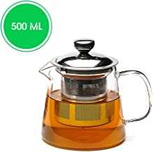 Teabox Urban Glass Teapot with Removable Stainless Steel Infuser and Lid for Loose Leaf Tea | Microwave Safe Borosilicate Glass | 500 ml
