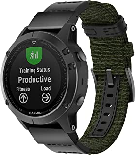 Quick Release Strap for Garmin Fenix 5 Smart Watch, Canvas Watchband Replacement, Cool