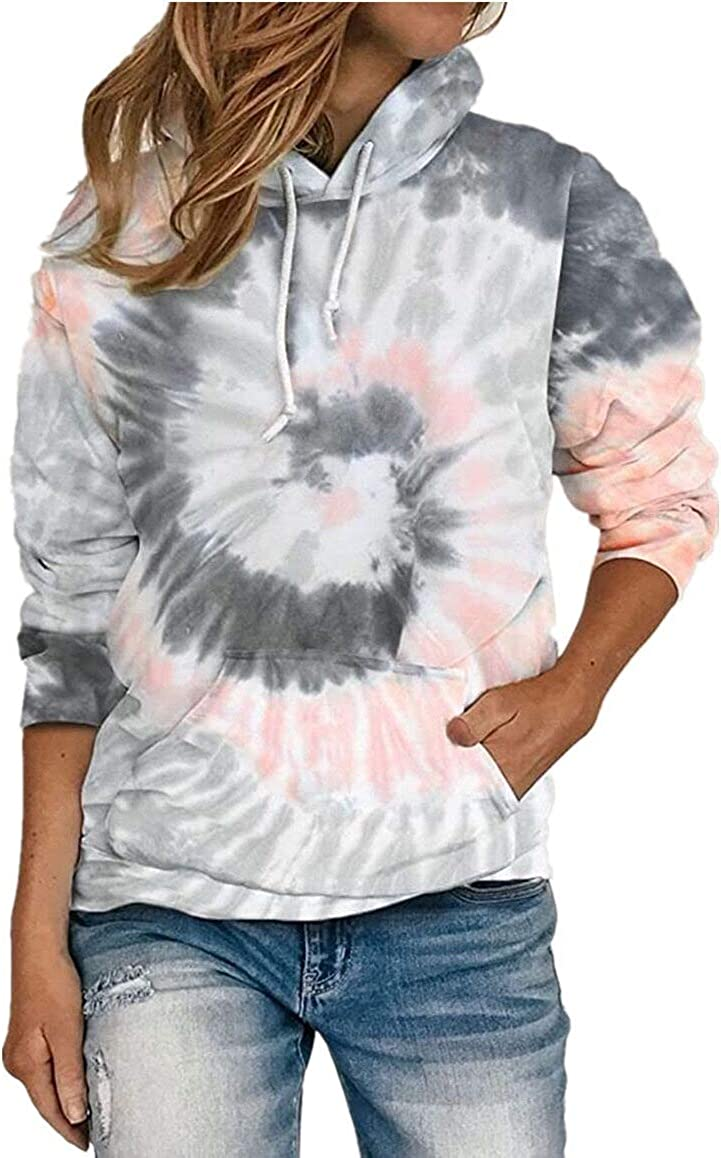 Lilychan Womens Casual Color Block Tie Dye Printed Sweatshirt Long Sleeve Drawstring Pullover Hoodies Tops