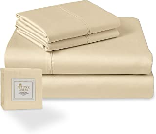 400 Thread Count Cotton Sheet Set Full Vanilla Yellow, 100% Long Staple Cotton 4 Piece Bed Sheet Set, Breathable Sateen Sh...
