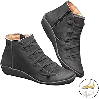 2019 New Casual Arch Support Boots Ankle Boots for Women, Comfortable Ladies Booties Side Zipper Ankle Boots Flat Slip on Boots for Girlfriends and Mother