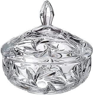 Dulcinea Crystal Cut Glass Candy Dish, No Lead Content, Removable Lit