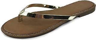 Harper Shoes Women's Crystal Rhinestone Thong Flip-Flop Slip-on Flat Sandal