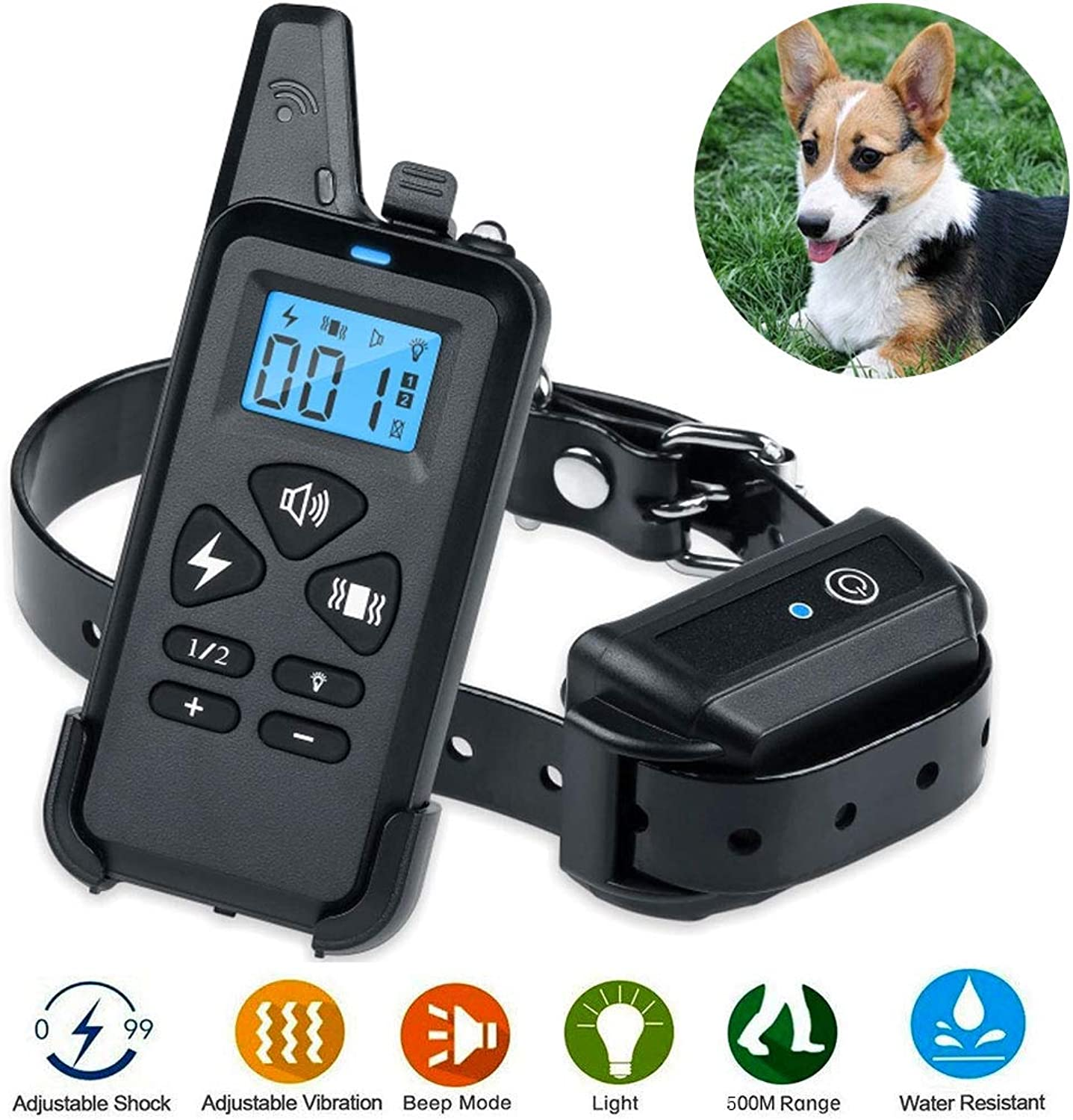 JXM Training Collar Dog, Rechargeable 330 Yd Remote Dog Shock Collar with Beep, 100% Waterproof Training Collar, Vibration And Shock Suitable for Small, Medium And Large Dogs