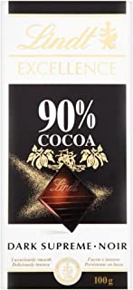 Lindt Excellence 90% Dark Supreme Chocolate Bar 100g - Pack of 2