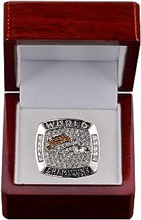 Jiustars 1997 Denver Broncos Championship Ring Men's Souvenir Super Bowl XXXII Championship Replica Ring Size 9-12