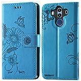 kazineer Huawei Mate 10 Pro Hülle, Leder Tasche Handyhülle für Huawei Mate 10 Pro Schutzhülle Brieftasche Etui Hülle - Türkis blau