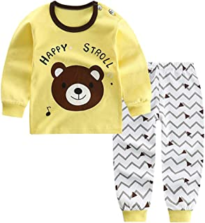Clearance!! 🔥 Unisex Toddler Kids Leisure Pajamas Outfits Set MS-SM Infant Baby Boys Girls Fashion Cute Cartoon Duck Bear Dog Star Print 2PCs for 6M-5Y