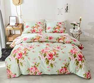 Style Bedding Duvet Cover Queen, 100% Cotton Comfy Floral Flower Printed Reversible Pintuck Comforter Cover and Shams 3 pcs Set with Hidden Zipper and Corner Ties (Queen Size 90 x 90 inch)