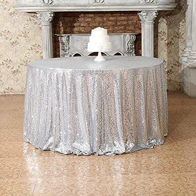Xmas//Wedding Decor Silver Sequin Round Table Cloth DA26 36 Inches