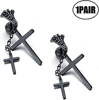 JZZJ Feather Punk Hoop Earrings Stainless Steel Leaf Huggie Stud Earrings Hinged Unisex Piercing Jewelry 1 PAIR(Cross Silver 1 Pair)