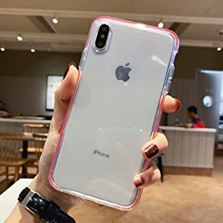 iPhone Xs Max Case, Anynve Hybrid Clear Case Transparent Silicone TPU Shockproof Bumper Cover Case Compatible for Apple iPhone Xs Max 6.5''(2018) - Red