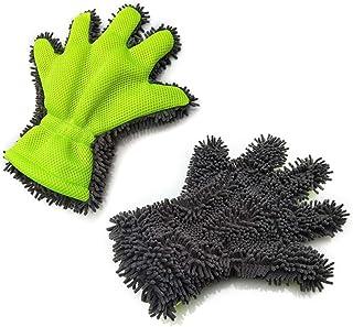 Cavestoff Autowaschhandschuh, 5 Finger Waschen, Trockentücher, Mikrofaser, Reinigungshandschuh innen und außen, für Auto, Motorrad, Küche, Fensterreinigung, Grün