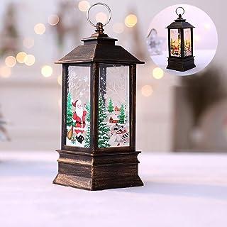 GKanMore Christmas Lighted Snow Globe Lantern Decor LED Candle Flame Light Hanging Lantern Decor Ornament for Home Xmas Tree (Bronze)