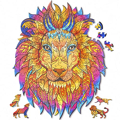 Wooden Jigsaw Puzzles for Adults, Unique Shaped Wood Puzzle, Animal Shaped Puzzles, Wooden Lion King Puzzle, Christmas Birthday Gift for Adults Teens, 10.2'' x 8.2''