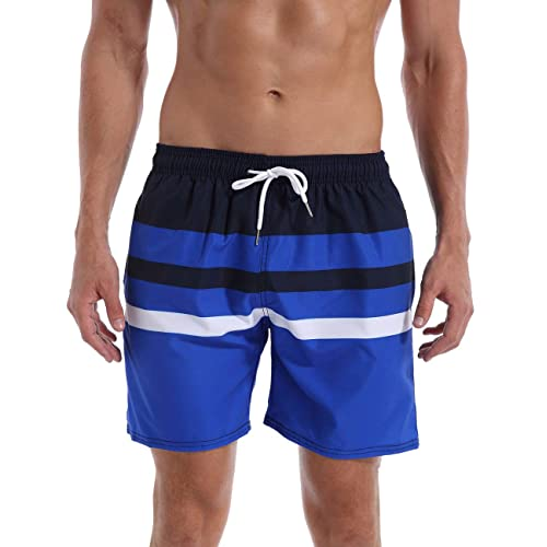a1e61d8552 QRANSS Mens Waterproof Striped Swim Trunks Lightweight Quick Dry Beach  Shorts