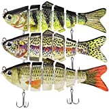 Kimje Fishing Lures for Bass Multi Jointed Bass Lures Fishing Bait Slow Sinking Bionic Swimming Bass Fishing Hard Lifelike Fishing Lures for Freshwater Saltwater Trout Bait Swimbaits Kits, green