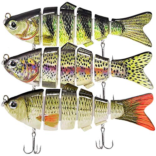 Kimje Fishing Lures for Bass Multi Jointed Bass Lures Fishing Bait Slow Sinking Bionic Swimming Bass...