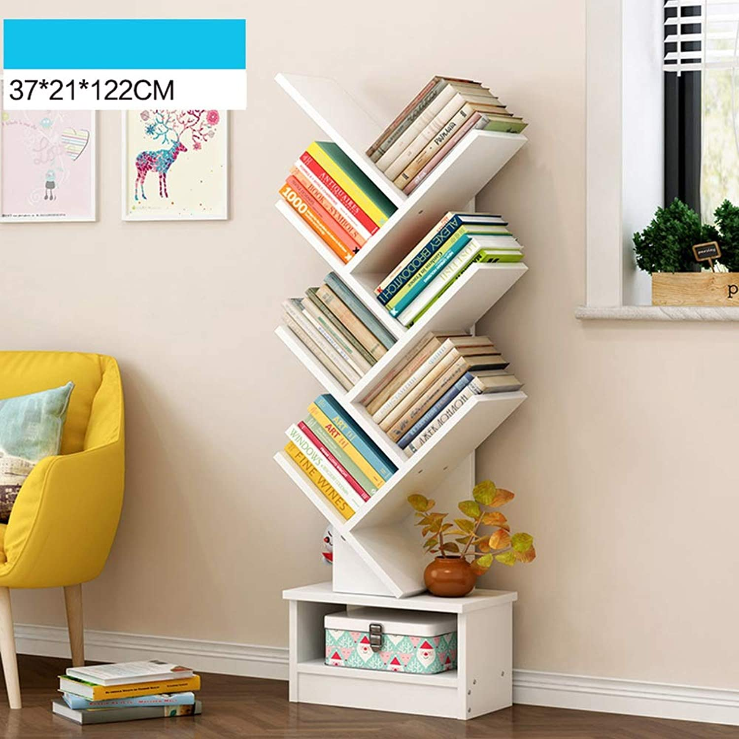 ZR- Wood Bookshelf Tree Storage Shelf Floor Standing Bookcase Organizer For Living Room - Wall decoration (color   White-7 layers)