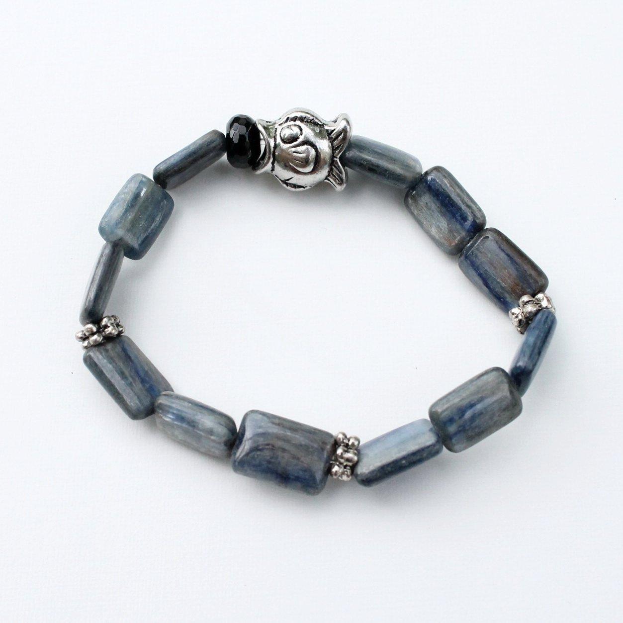Blue Kyanite and Black Onyx Ranking 25% OFF TOP2 Crystal Silve Bracelet Inspired Yoga