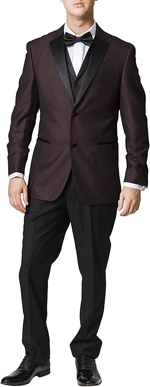 Adam Baker by Caravelli Men's 65609 Slim Fit Textured Top 3 Piece Tuxedo - Burgundy - 38R