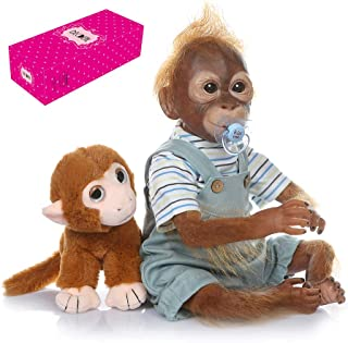 Docooler Decdeal 21 inch Realistic Baby Monkey Doll Lifelike Reborn Baby Monkey Handmade Detailed Painting Art Dolls with Blue Outfit