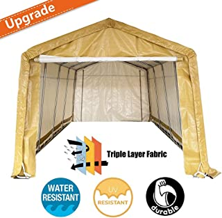kdgarden 10` x 20` Heavy Duty Carport Portable Garage Enclosed Car Canopy Outdoor Instant Shelter Party Tent with Sidewalls for Auto and Boat Storage, Upgrade Waterproof and UV-Treated Fabric, Khaki