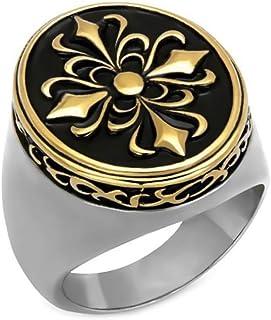 BOBIJOO Jewelry - Grosse Bague Chevalière Homme Fleur Lys Royaliste Acier INOX 316 Or Doré Plaqué Templier Chevalier