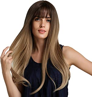 """Perfeclan 24"""" Women's Long Straight Wig With Wig Net Cap, Heat Resistant Synthetic Wig With Neat Bangs, Good For Work, Daily, Party, Cosplay Use, Brown Ombre"""
