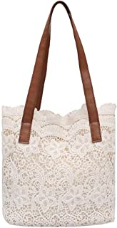 Demiawaking Lace Hollow Out Shoulder Women Handbags Beach Casual Totes Bags (White)