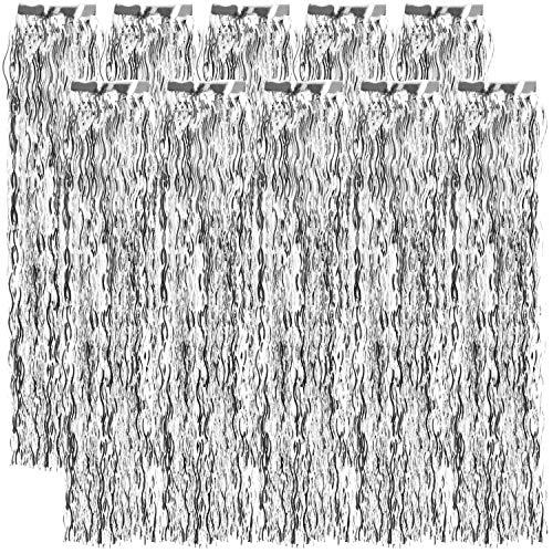 com-four® 10x Lametta gewellt - Lametta Girlande in silberfarben - Weihnachtsschmuck für den Christbaum - 50 cm (silberfarben - 10 Stück)
