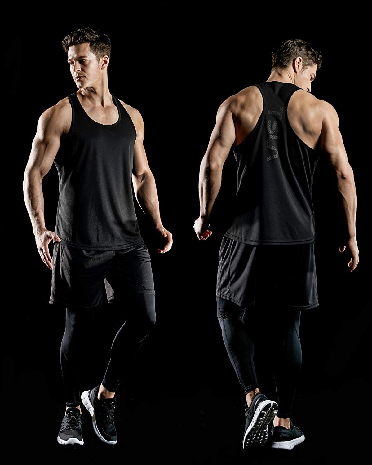 Sleeveless Bodybuilding Shirts TSLA 3 Pack Mens Dry Fit Y-Back Muscle Workout Tank Tops Athletic Training Gym Tank Top