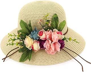 CHENDX High Quality Hat, Fashion Elegant Basin Cap Fisherman Hat Beautiful Lady Beach Big Along The Dome Garden Flowers Big Straw Hat Sun Shade Sun Hat (Color : Khaki, Size : 56-58CM)