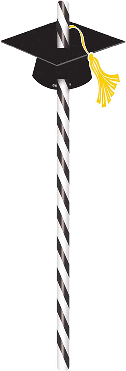 amscan 400072 Graduation Straws with Pack Favor New color Party Caps Grad It is very popular