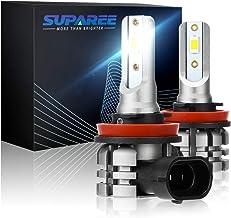 SUPAREE H11 Led Fog Light Bulb, H8 H9 H16 7065 SMD Chips 6000K 5200 Lumens Xenon White Extremely Super Bright, Fog light D...