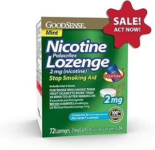 GoodSense Nicotine Polacrilex Lozenge 2mg, Mint Flavor, 72-count, Stop Smoking Aid, GoodSense Smoking Cessation Products