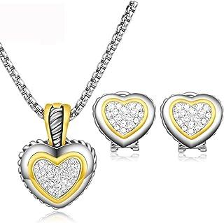 UNY Gold Crystal Zircon Heart Necklace Earring Design Women Set Fashion Jewelry Best Unique Valentine Gift