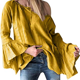 Women One Shoulder T-shirt Blouse Tops ❀ Ladies Solid Ruffles Loose Long Sleeve Tee Shirt Long Tunic Tops