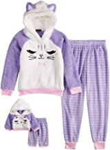 Cuddl Duds Girls Plush Animal Pajama Sleep Set Hooded Top Pants with Matching Doll Set