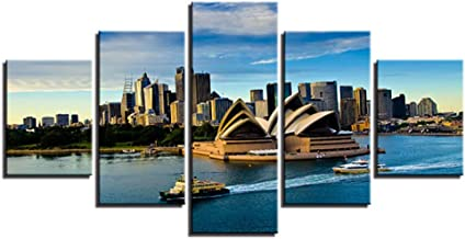 5 Panel Wall Art Painting Sydney Opera House Panoramic Picture Canvas Artwork for Home Decor Stretched with Wooden Frame