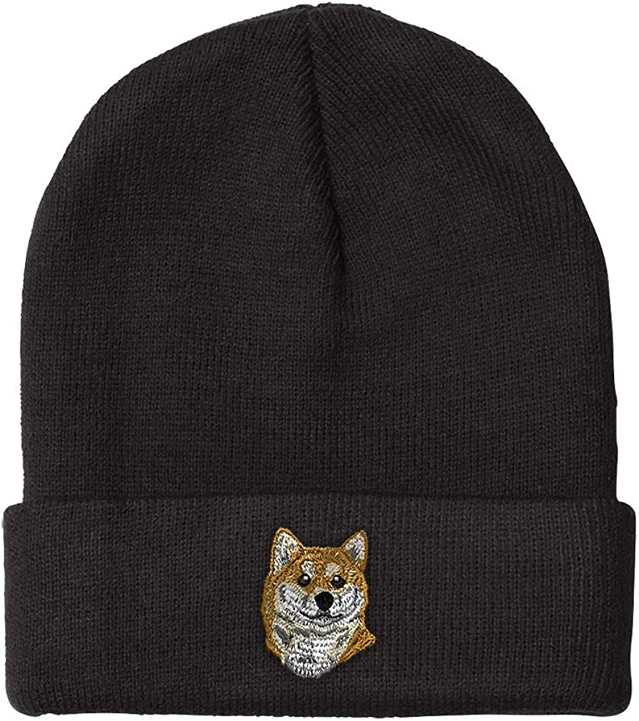 Beanies for Men Discount mail order Shiba Inu Head Acry Winter Max 70% OFF Hats Women Embroidery