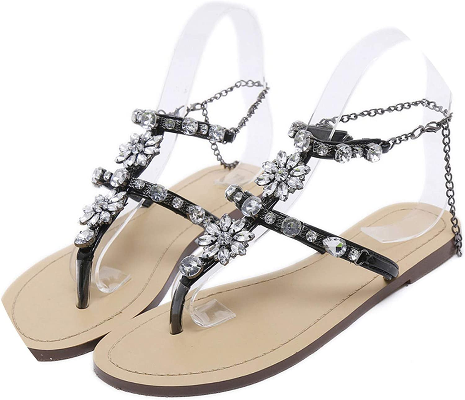 Miracle day 6 color Woman Sandals shoes Rhinestones Chains Flat Sandals Crystal Chaussure Plus Size 46
