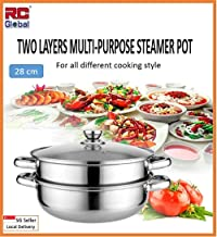 RC Global A-47 2 Tiers Stainless Steel Soup Steamer,28cm Silver