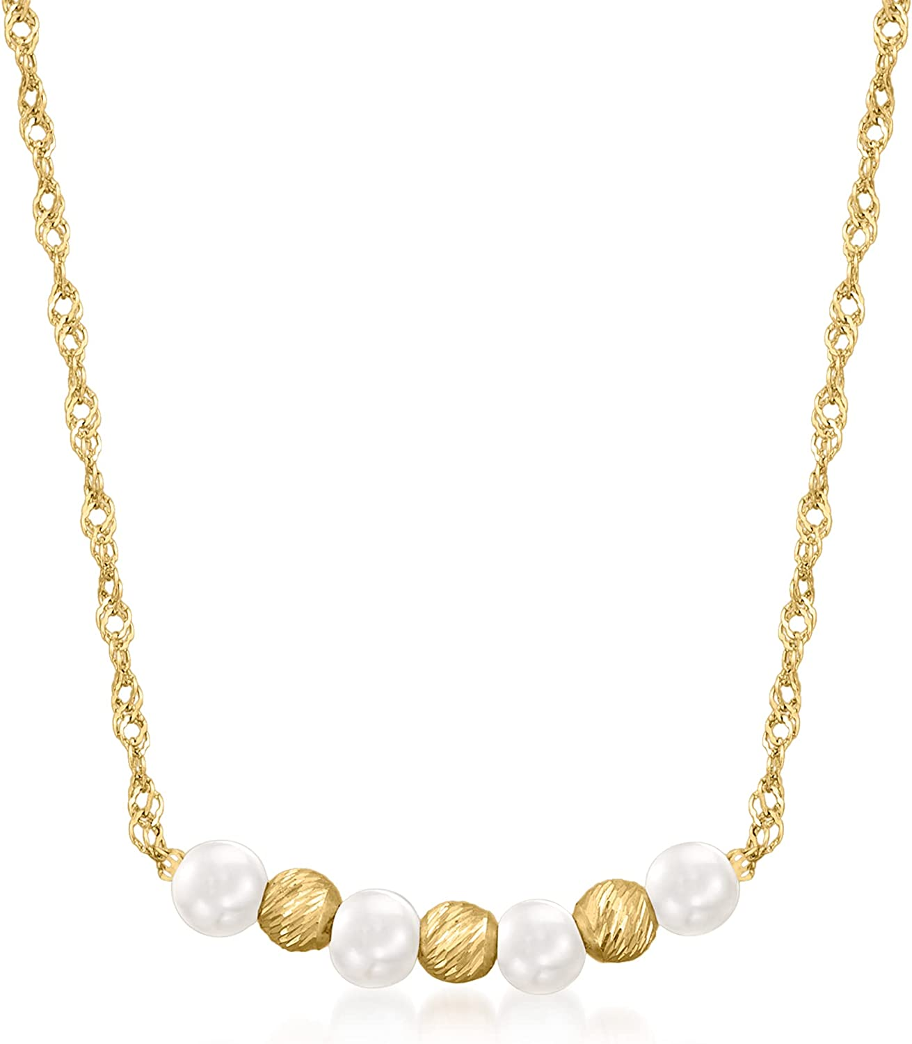 Ross-Simons 2.5-3mm Cultured Pearl and 14kt Yellow Gold Bead Necklace